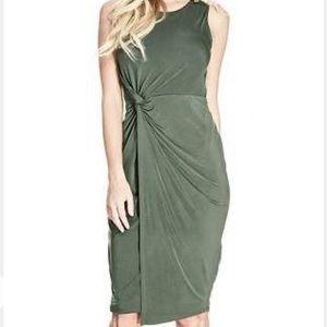 GUESS Lana twist front olive green moss dress S